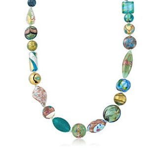 Ross-Simons Italian Green and Blue Murano Glass Bead Necklace