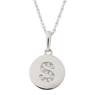 14k White Gold Cubic Zirconia Tiny Round Disc Initial Necklace