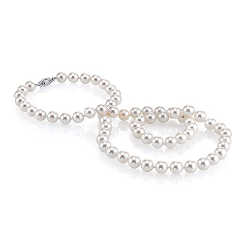 THE PEARL SOURCE 14K Gold 9-10mm AAAA Quality White Freshwater