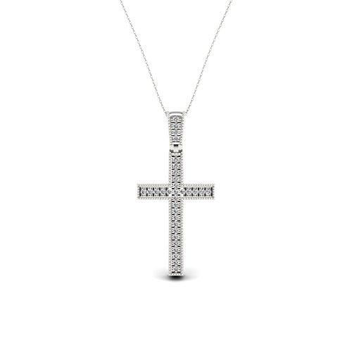 IGI Certified 1/20ct TDW Sterling Silver Diamond Cross Necklace