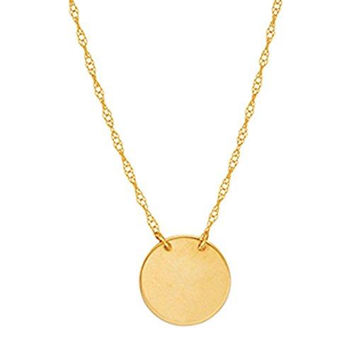 Ritastephens 14k Yellow Gold Mini Disc Pendant Adjustable Chain Necklace