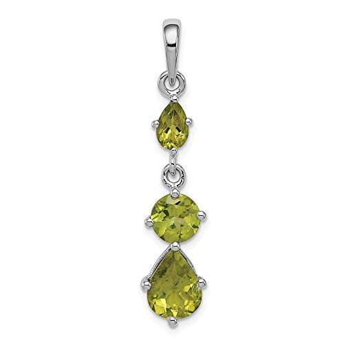 Sterling Silver Green Peridot Pendant Charm Necklace