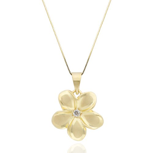 Plumeria Necklace Pendant with Diamond in 14K Yellow Gold