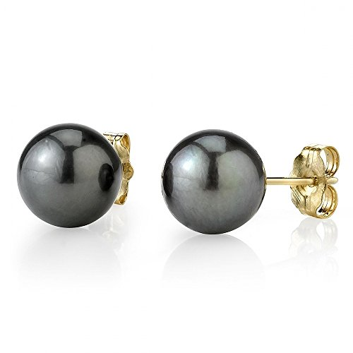 THE PEARL SOURCE 14K Gold 9-10mm Round Tahitian South Sea Cultured Pearl