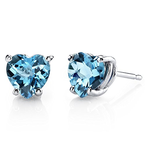 14 Karat White Gold Heart Shape 1.75 Carats Swiss Blue Topaz