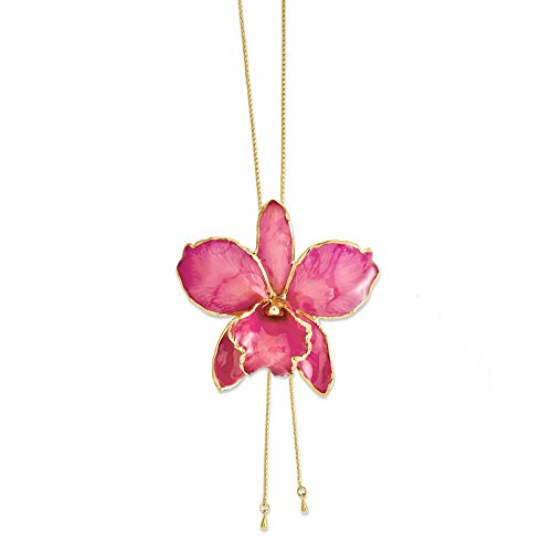 Jewels By Lux Lacquer Dipped Fuchsia Cattleya Orchid Adjustable Necklace