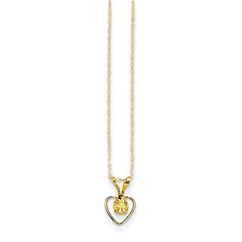 14k Yellow Gold 3mm Citrine Heart Birthstone Chain Necklace