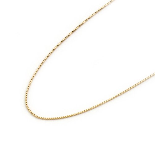 14k Solid Yellow Gold 0.55mm Box Chain Necklace