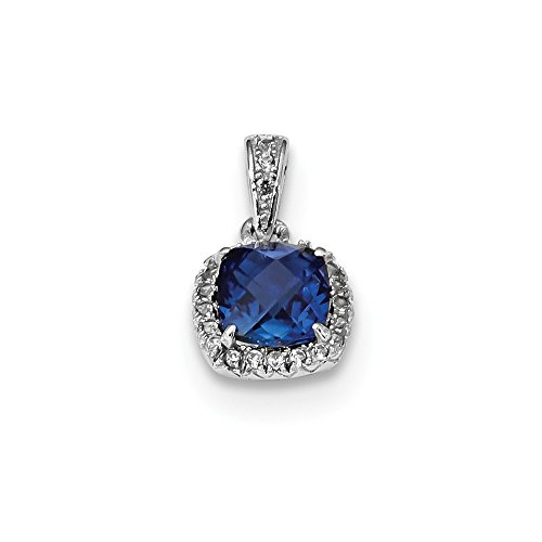 925 Sterling Silver Created Blue White Sapphire Pendant Charm Necklace