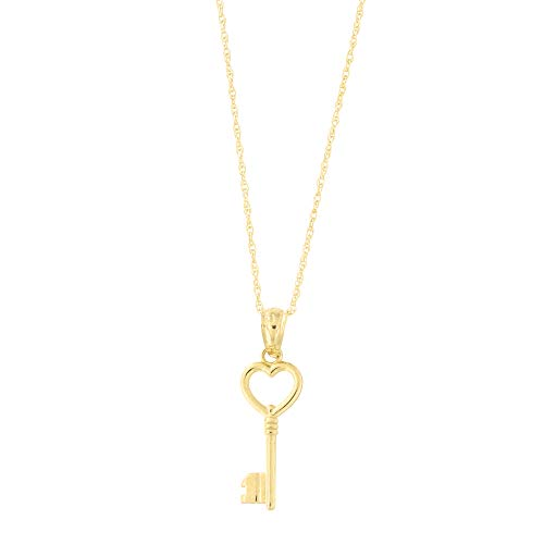 Beauniq 14k Yellow Gold Heart Vintage Key Pendant Necklace