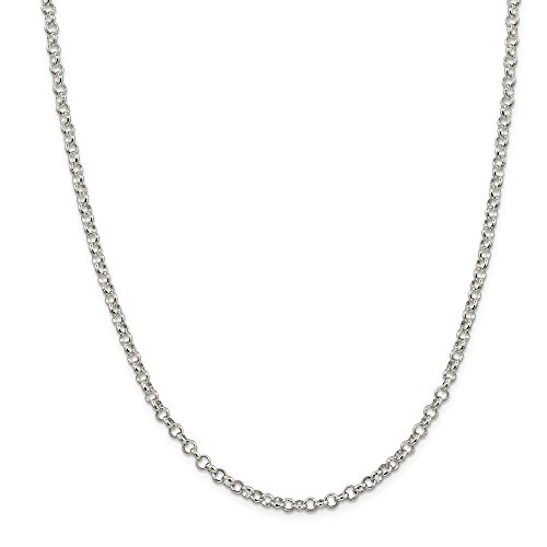 Sterling Silver 4mm Rolo Chain Necklace 24 Inch Pendant Charm