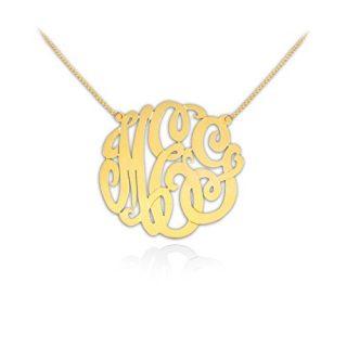Gold Monogram Necklace 1 inch Handcrafted Designer