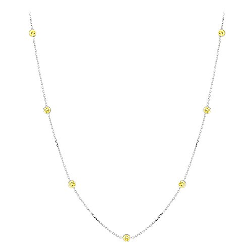 14K Gold Chain Necklace with Yellow Diamonds