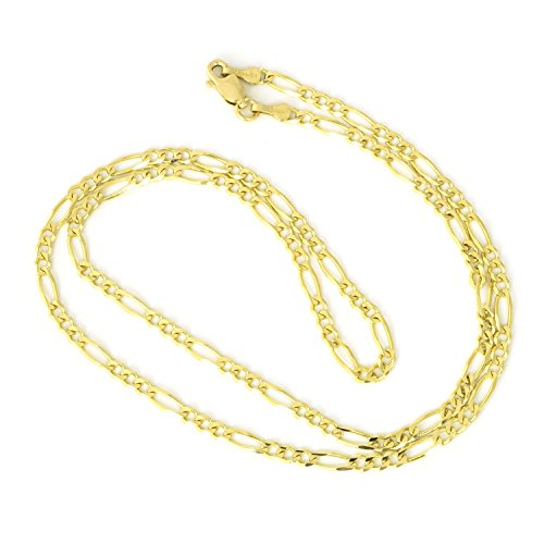 Men's 10k Solid Yellow Gold Figaro 3mm Chain Necklace