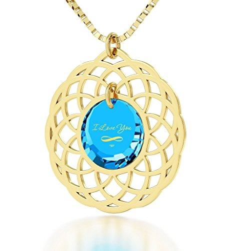 Nano Jewelry Gold Plated Mandala I Love You Infinty Pendant Necklace