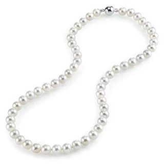 THE PEARL SOURCE 7-8mm AAA Quality Round White Freshwater Cultured Pearl