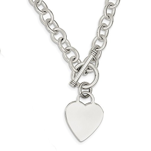 Sterling Silver Heart Link Toggle Chain Necklace Pendant Charm