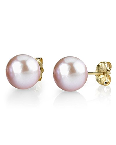 THE PEARL SOURCE 14K Gold 7-8mm Round Pink Freshwater Cultured Pearl