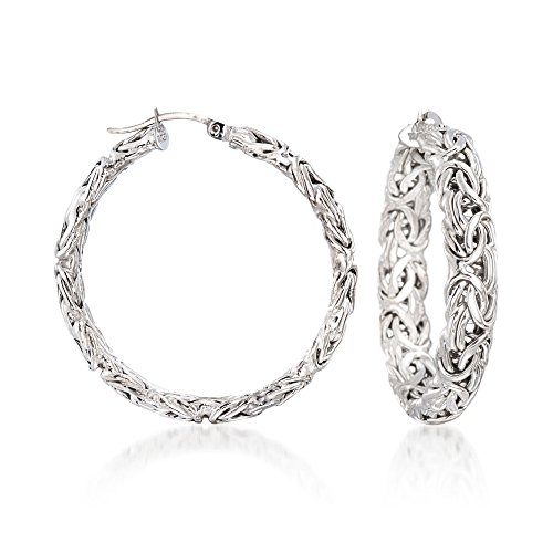 Ross-Simons Sterling Silver Large Byzantine Hoop Earrings