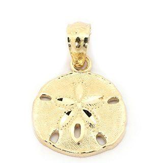 Beauniq 14k Yellow Gold Sand Dollar Pendant