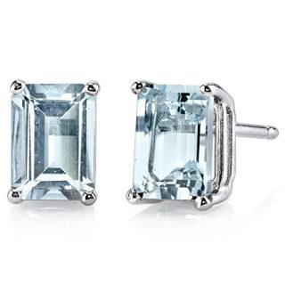 14 Karat White Gold Emerald Cut 1.75 Carats Aquamarine