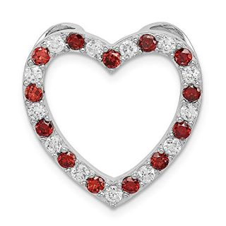 Sterling Silver Red Garnet Cubic Zirconia Cz Heart Pendant Charm Necklace