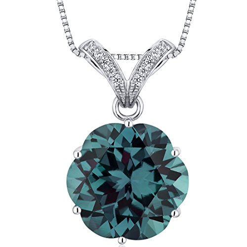 16.00 Carats Simulated Alexandrite Slider Pendant Sterling Silver