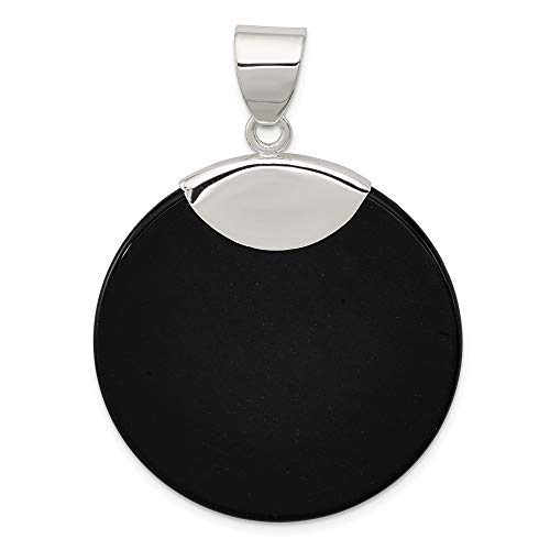 Sterling Silver Round Black Onyx Pendant Charm Necklace