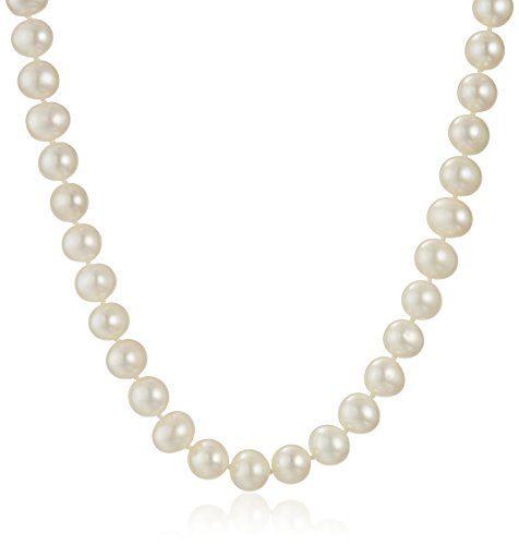 14k White Gold 8-9mm White Freshwater Cultured AA Quality Pearl Necklace