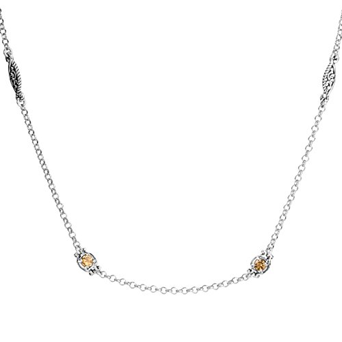 Carolyn Pollack Sterling Silver Yellow Citrine Station Necklace