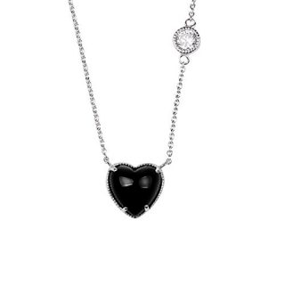 Sterling Silver White Cubic Zirconia Black Onyx Stone Heart Shape Rhodium