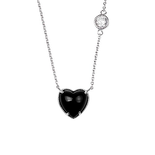 Sterling Silver White Cubic Zirconia Black Onyx Stone Heart Shape Rhodium