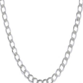 Pori Jewelers Solid Sterling Silver Cuban Chain Necklace - Made in Italy