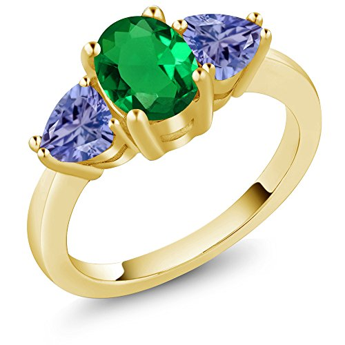 Gem Stone King 1.80Ct Green Simulated Emerald Blue Tanzanite