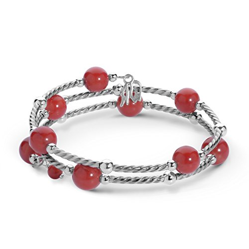 American West Sterling Silver Red Coral Gemstone Coil Wrap Bracelet