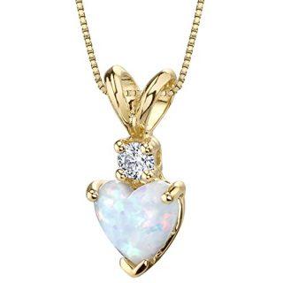 14 Karat Yellow Gold Heart Shape Created Opal Diamond Pendant