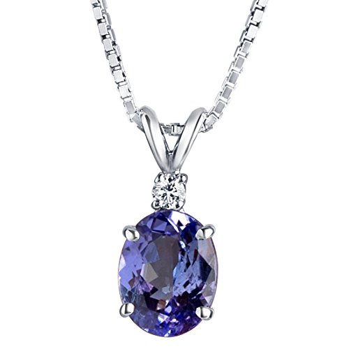 14 Karat White Gold Tanzanite Diamond Pendant