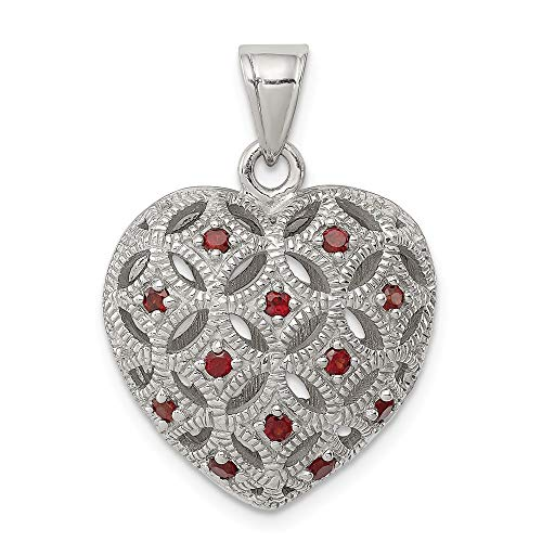 Sterling Silver Red Garnet Heart Pendant Charm Necklace
