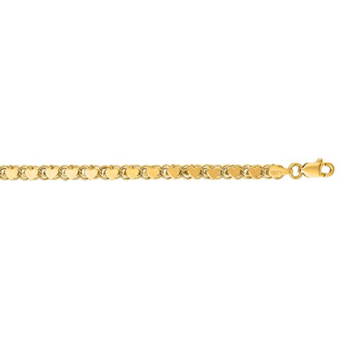 14K Yellow Gold Solid 3.5mm wide Diamond Cut Heart Ring Chain