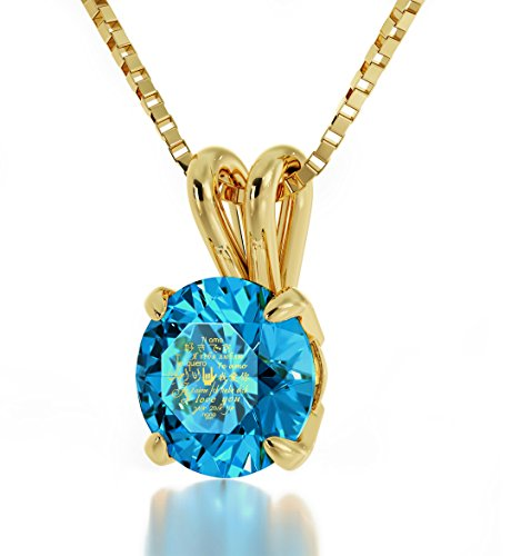 Nano Jewelry Gold Plated I Love You Necklace Solitaire Pendant