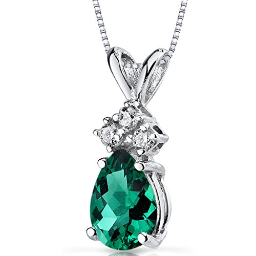 14 Karat White Gold Pear Shape 0.50 Carats Created Emerald Diamond