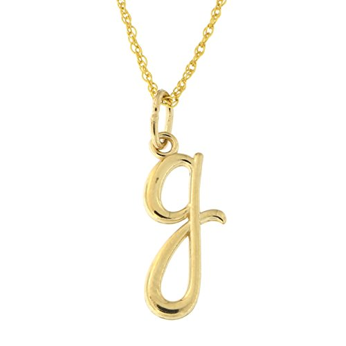 Beauniq 14k Yellow Gold Lowercase Cursive Initial Pendant Necklace