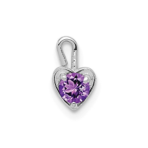 14k White Gold February Synthetic Birthstone Heart Pendant Charm Necklace