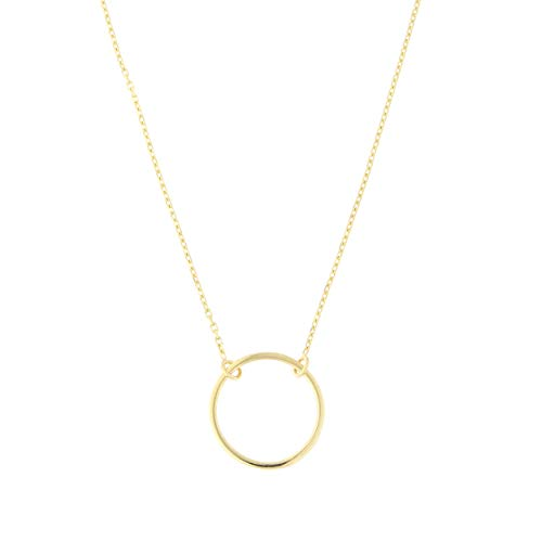 Beauniq 14k Yellow Gold Delicate Open Circle Necklace