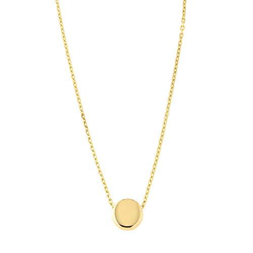 Beauniq 14k Yellow Gold Small Circle Pendant Necklace