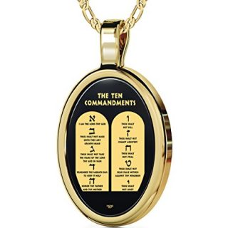 NanoStyle Gold Plated Necklace Inscribed with The Ten Commandments