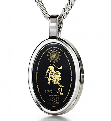 Nano Jewelry Silver Zodiac Pendant Leo Necklace Inscribed in 24k Gold