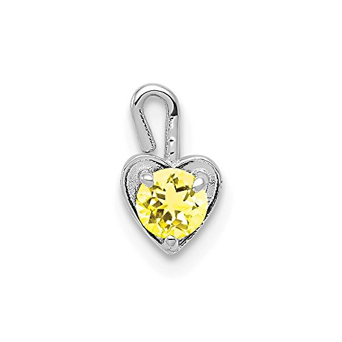 14k White Gold November Synthetic Birthstone Heart Pendant Charm Necklace
