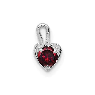 14k White Gold July Synthetic Birthstone Heart Pendant Charm Necklace