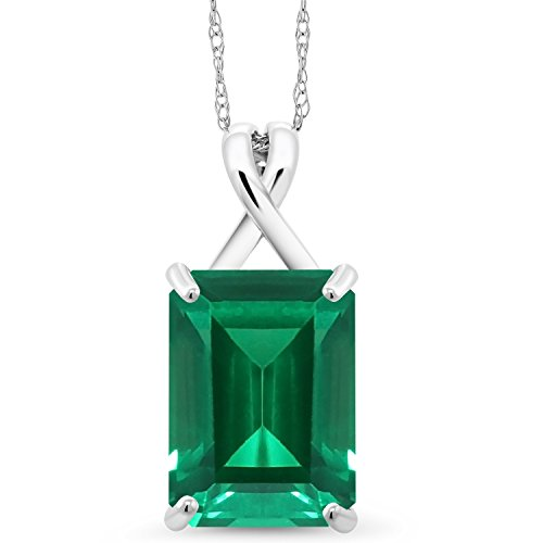 Gem Stone King 10K White Gold Green Simulated Emerald Pendant Necklace
